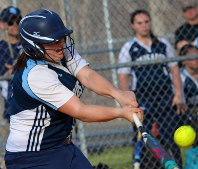 Grace Stairiker doubles in the fifth inning for Morris Catholic in a game against Boonton. Stairiker was the winning pitcher and struck out 10.