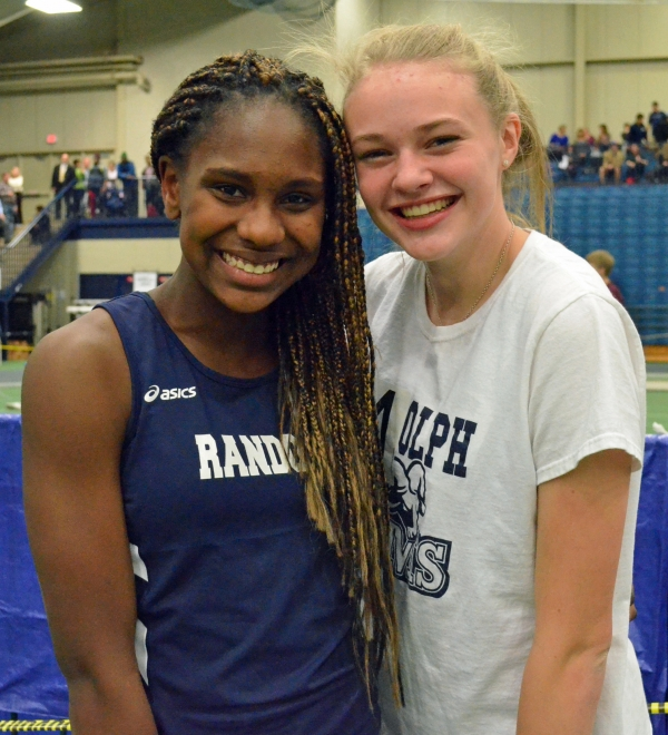 Freshman Karen Hull, left, and Meghan O'Malley, a sophomore, played large roles for Randolph when it captured the 2017 Morris County Relays title.