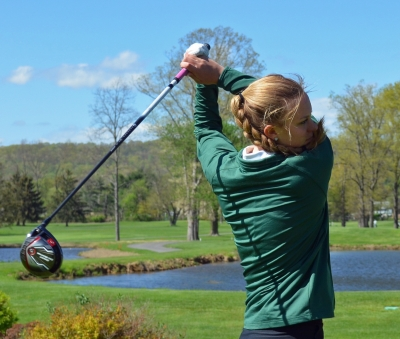 Christi Conroy of Morris Knolls prevailed on the second hole of a playoff to garner the title at the Morris County Girls Golf Championship on Wednesday, May 3.