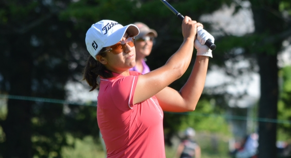 Marina Alex tees off during the 2013 ShopRite Classic.