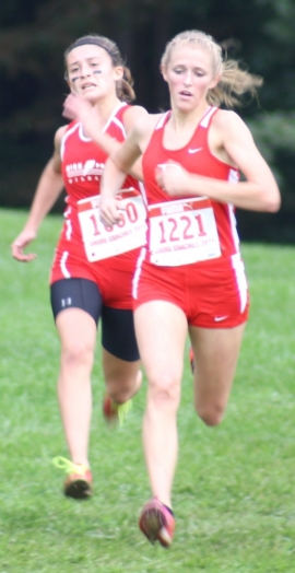 Sarah Disanza of High Point, left, nears the finish line with Delsea's Paige Senatore.