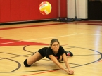 Mount Olive's Laura Cantor makes a dig in a scrimmage against Parsippany.