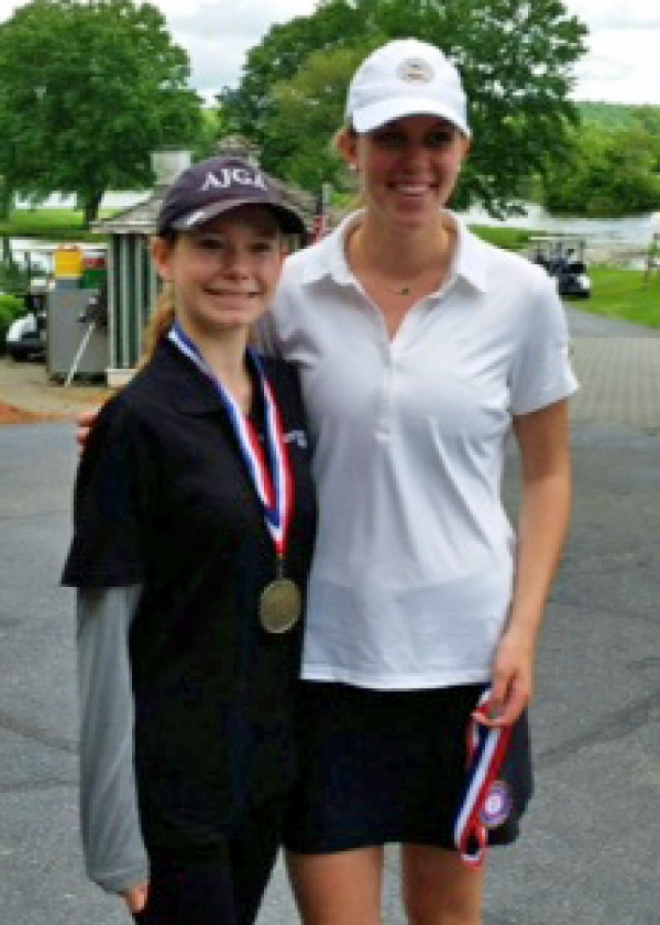 Kittatinny's Annika Johnson, left, poses with Morris Knolls' Christi Conroy. Johnson repeated as NJAC champion, shooting a 36, Conroy won the Morris County Girls Tournament title.