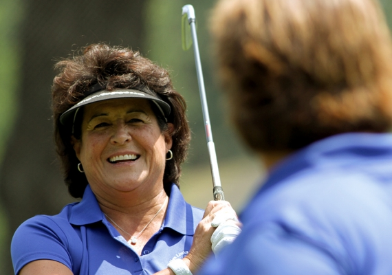Nancy Lopez and LPGA instructor Lynn Stellman chat during Sunday's event at River Vale Country Club.