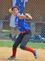 Morristown National third baseman Jackie Rhoades is set to fire to first base.