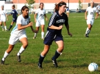 Mendham's Sarah Gillespie, right, and West Morris' Sydney Sapir pursue the ball.