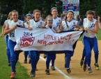 Pequannock players run around the field with their banner after winning the Section 1 championship.