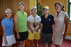 Alice Chen, center, poses with runner-up Noelle Maertz and the net and the flight champions after winning the NJSGA Women's Public Links Championship at the Knoll West.