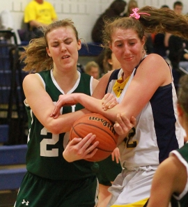 Jefferson's Sammy Lapszynski, right, was named to the 2011-12 Morris County Girls Basketball Coaches Association Team.