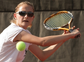 Villa Walsh first singles player Jamie Campisi won her first high school match on Friday since returning from a broken wrist.