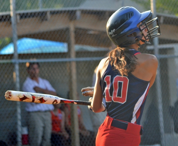 Luisa Barone, above, takes a swing during Section 1 play.