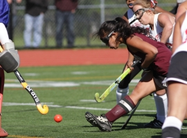 Parsippany's Katie Lips, upper right, zeroes in on the ball right before scoring Parsippany's decisive goal.
