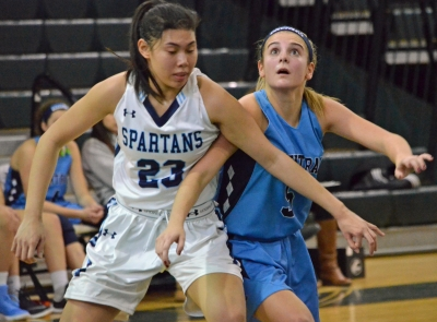 Immaculata's Izzy Reyes and West Morris' Maddie Selvaggi box out in the fourth quarter of a game at the Len Sepanak Memorial Tournament.