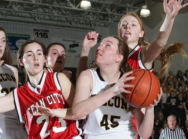 Jefferson's Kristen Swerzenski looks for an open shot while under pressure.