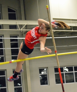 Alexis Schauder of Whippany Park took first in the pole vault at the 2020 Cliff Back Invitational on Jan. 2.