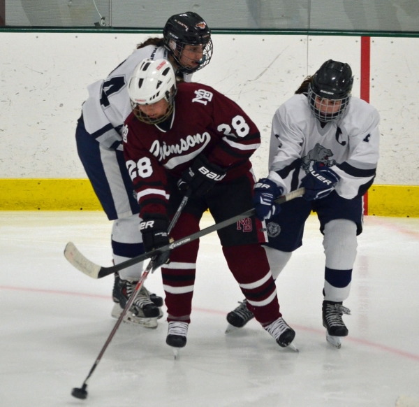 Emily Kitchin of Morristown-Beard controls the puck in the Crimson's game versus Pingry.