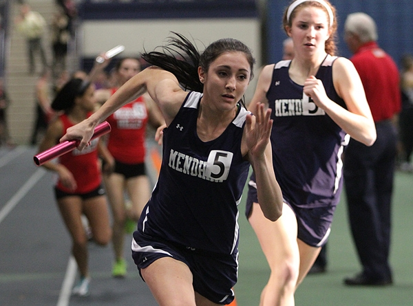 Mendham's Laura Papili takes off with the baton in the 4x400.