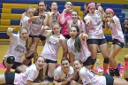Roxbury volleyball players posed for a team photo after their Kill Cancer event.