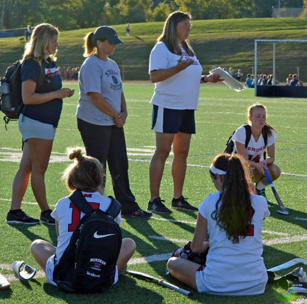 Mendham coach Lori Welles chats with her team after its 5-0 win over Whippany Park on Monday, Oct. 2, 2017. In the photo below, Sarah McHugh, left, is shown in a game versus Morristown last season.