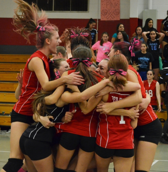 Parsippany celebrates after its win over Parsippany Hills.