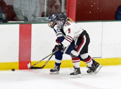 Faith Facchini, No. 9, pictured in a game versus Pingry last season, scored twice to pace the Crimson in their season opener against Chatham.