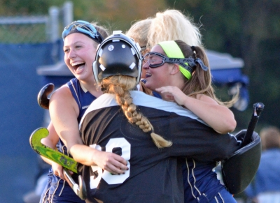 Roxbury players celebrate their Morris County Tournament victory over Randolph on Thursday, Oct. 6.
