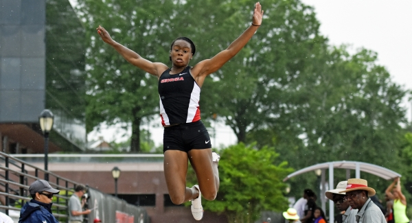 Keturah Orji, now at the University of Georgia, competes at the Olympics qualifier.