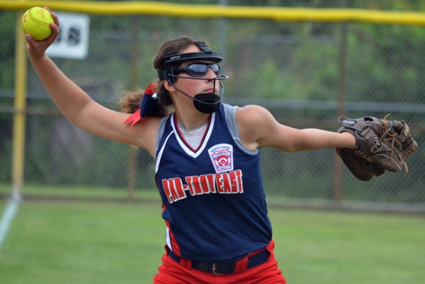 Lauren Vuolo, shown here playing third base, had two hits and knocked in four runs for Par-Troy East in the final game of the Senior Little League State Tournament.
