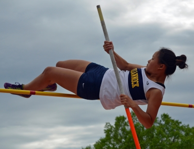 Pequannock's Irene Park won the pole vault on the first day of competition at the 2017 Morris County Track Championships.