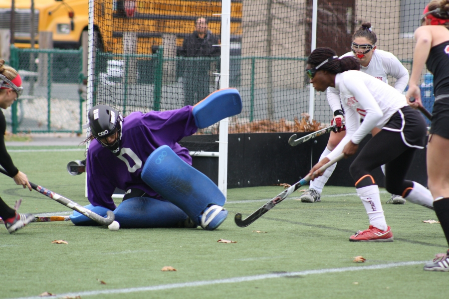 8472d610c Featured Parsippany goalie Jasmine Chen fights to keep the ball out of the  goalcage. Krysten Mayers