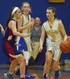 Butler's Sammy Flinn dribbles while being guarded by North Warren's Kelly Vuz.