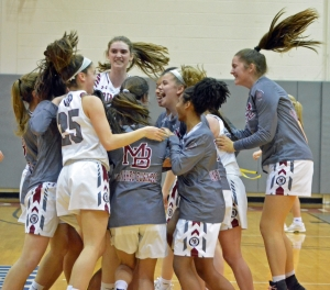 Morristown-Beard celebrates its MCT semifinal victory over Morristown on Friday, Feb. 15, 2019.