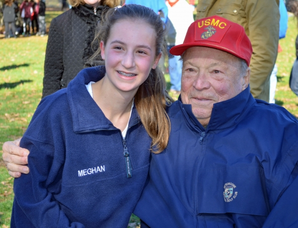 Abby Loveys of Randolph poses for a photo with her grandfather, Ralph, after finishing 12th at the Meet Of Champions.