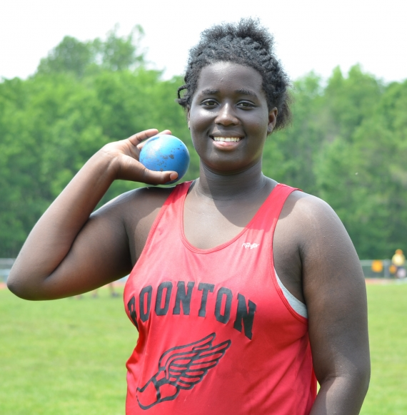 Alecia Bailey of Boonton was second in the shot put and discus at the North Jersey Section 1, Group I Meet.