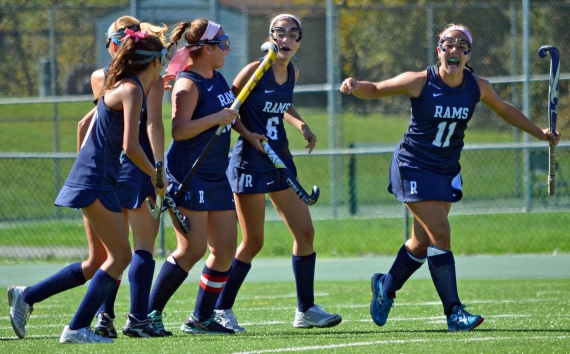 Randolph, above, has celebrated plenty of goals this season. Jenna Patel, pictured in the slideshow and below leaping after the Rams' MCT win over Montville, has had an assist in every game.