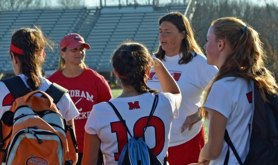 Mendham coach Lori Welles, right, addressed her team after it blanked West Morris, 1-0, on Wednesday, Nov. 4. Pictured in the slideshow is Ally Reardon, who assisted on the only goal.