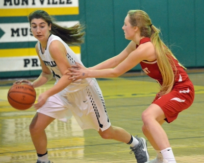 Montville's Bella Vito, on the left, brings the ball up in the fourth quarter versus High Point.