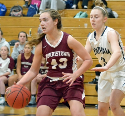 Morristown's Elizabeth Strambi, left, is pictured in a game versus Chatham earlier this season.