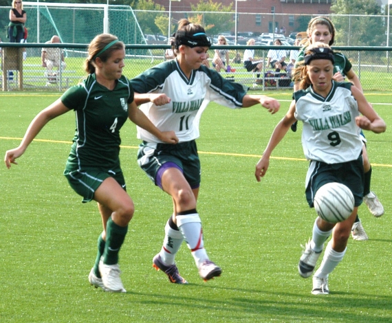 Kinnelon's Jess Daniels and Villa Walsh's Margaret Cavaliere, center, and Lauren Longo pursue the ball. The Vikings won, 1-0, to remain undefeated.