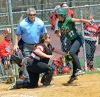 Parsippany catcher Alivia Mercuro tags out Kinnelon's Sierra Jacko in the sixth inning of an MCT quarterfinal-round game on Saturday, April 28.