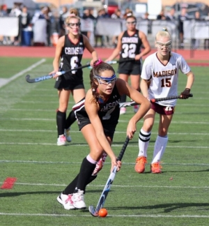 Sofia Scordley of Morristown-Beard is in possession of the ball during the Crimson's MCT semifinal game versus Madison.