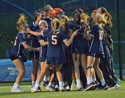 The Lakers celebrated after defeating top-seeded Morristown in a MCT semifinal.