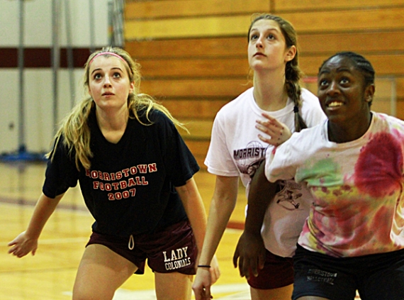Members of the Morristown High School girls basketball team during a recent practice.