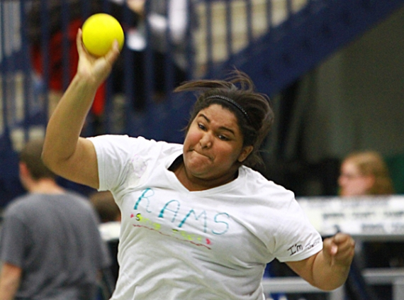 Randolph's Lisbeth Lopez unleashes the winning throw at the Jack O'Leary Lid Lifter.