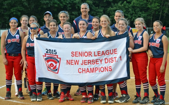 Above, Par-Troy East poses with the Senior League District 1 Little League banner after its series versus Dover. In the slideshow, Dover shortstop Cat Rewick reacts to Nicole Ruggerio being called safe.