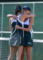 Jill Garfunkel and Joanna Fass of Montville celebrate their first doubles title.