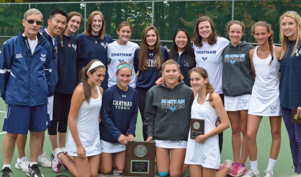 Chatham poses with its championship plaque after winning a second consecutive MCT Tennis title.
