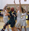 Hanover Park defenders surround Morris Knolls' Vanessa Elliott in a MCT first-round game on Saturday, Feb. 3.