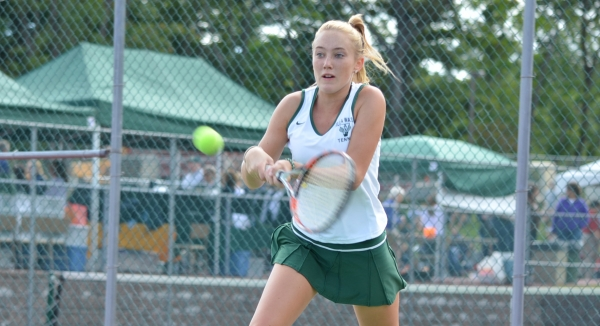 Sam Rollins plays second singles for Villa Walsh. The girls JV soccer team was one of many teams to compete during Septemberfest.
