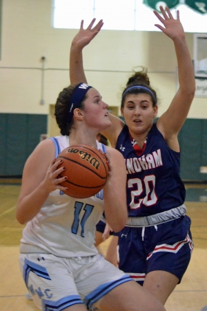 Mendham's No. 20, Anna Lasorsa, guards Caroline Coleman of West Morris during a holiday tournament game on Saturday, Dec. 29, 2018.